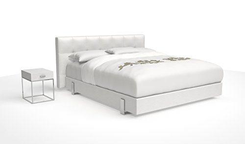 SAM® Design Boxspringbett Zadar Sole weiß mit Bonellfederkern in Massiv-Holz-Rahmen und Chrom-Füßen, 180 x 200 cm