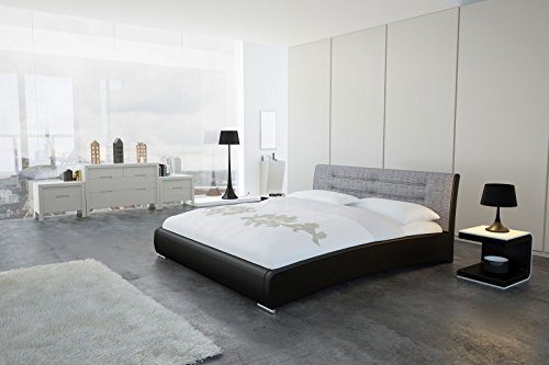 SAM® Design Polsterbett Bastia 160 x 200 cm in schwarz grau Kopfteil abgesteppt auch als Wasserbett verwendbar