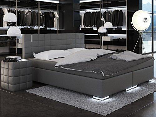 sam led boxspringbett 200x200 cm berlin kunstleder grau bonellfederkern matratze h3 topper. Black Bedroom Furniture Sets. Home Design Ideas