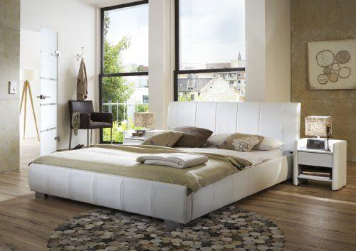 SAM® Polsterbett 140x200 cm Latina, weiß, Bett mit gepolstertem, hohen Kopfteil, abgestepptes Design, als Wasserbett verwendbar