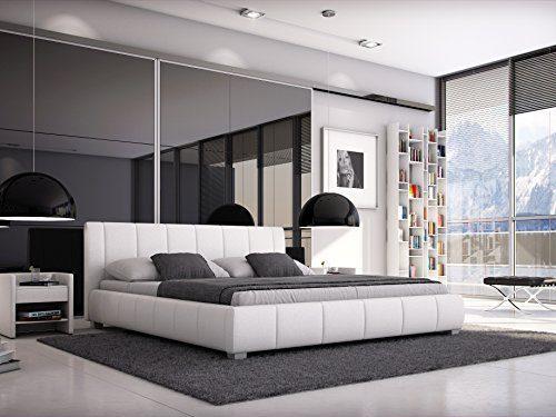 SAM® Polsterbett 140x200 cm Leon, weiß, Bett mit gepolstertem, hohen Kopfteil, modernes Design