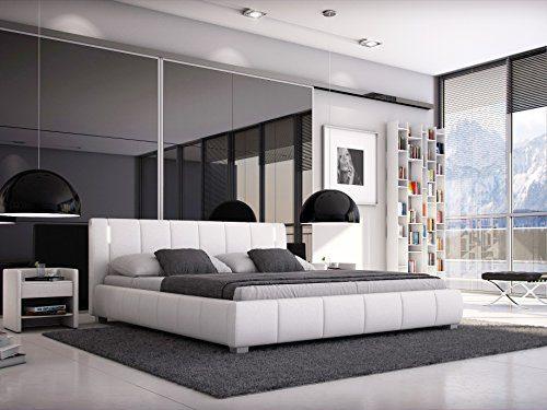 SAM® Polsterbett 140x200 cm Leon, weiß, LED-Beleuchtung, Bett mit gepolstertem, hohen Kopfteil, modernes Design