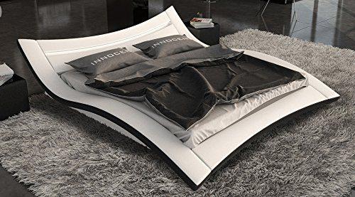SAM® Polsterbett Salina LED in weiß schwarz 160 x 200 cm außergewöhnliches Designbett geschwungene Seite Lichtleiste am Kopfteil