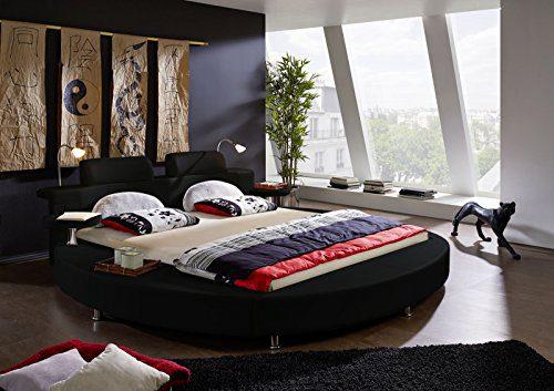 SAM® Rundbett, Polsterbett in schwarz, Bett mit gepolstertem Kopfteil und Beleuchtung, zwei integrierte Nachttischablagen, Bettgestell auch als Wasserbett verwendbar, 180 x 200 cm [521473]