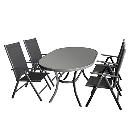sitzgruppe gartenm bel set aluminium gartentisch 140x90cm tischglasplatte oval 4x aluminium. Black Bedroom Furniture Sets. Home Design Ideas
