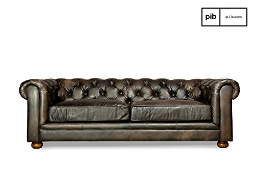 sofa dark chesterfield vintage m bel24. Black Bedroom Furniture Sets. Home Design Ideas
