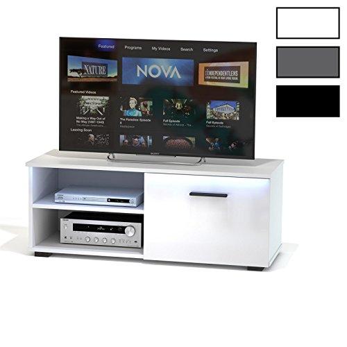 TV Lowboard Bank Fernsehtisch MALIBU in weiß Hochglanz mit LED Beleuchtung 102 cm breit, 1 Klappe