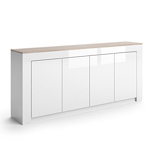 VICCO Sideboard ROMA in Weiß Hochglanz - 190 cm Kommode Schrank Anrichte Diele Flur Highboard Mehrzweckschrank