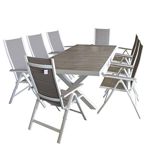 wohaga gartenm bel set aluminiumtisch 204x100cm mit steinguttischplatte 8x aluminium. Black Bedroom Furniture Sets. Home Design Ideas