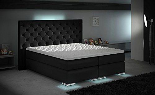 XXXL Royal Boxspringbett Designer Boxspring Bett LED Chesterfield Schwarz Maße 1,80 m x 2,00 m