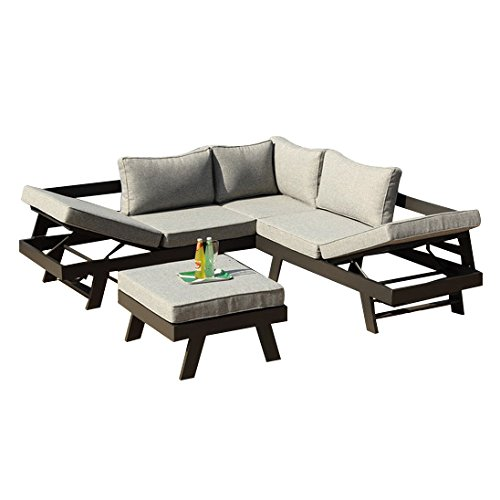 Greemotion 128510 lounge set aluminium panama alu loungeset 3 teilig f r garten terrasse for Lounge garnitur garten
