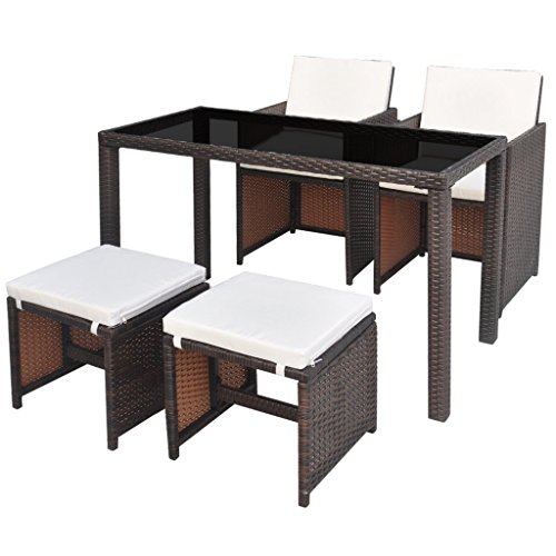 vidaxl poly rattan essgruppe 11 tlg braun sitzgruppe gartenm bel gartenset m bel24. Black Bedroom Furniture Sets. Home Design Ideas
