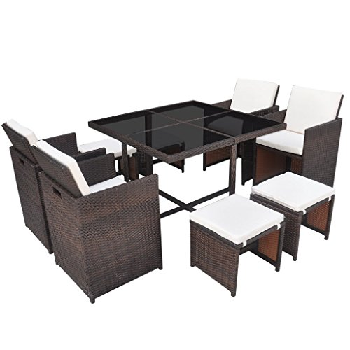 vidaxl poly rattan essgruppe 21 tlg braun sitzgruppe gartenm bel gartenset m bel24 xxl m bel. Black Bedroom Furniture Sets. Home Design Ideas