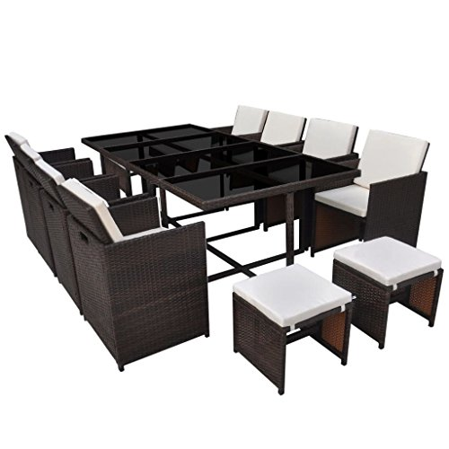 vidaxl poly rattan essgruppe 33 tlg braun sitzgruppe gartenm bel gartenset m bel24. Black Bedroom Furniture Sets. Home Design Ideas