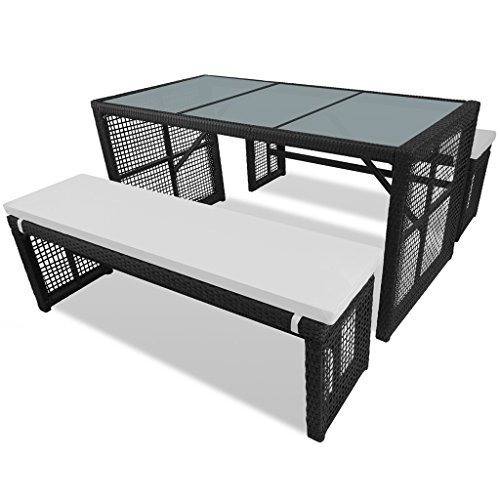 vidaxl poly rattan essgruppe sitzgruppe gartenm bel gartenset bank mit tisch m bel24. Black Bedroom Furniture Sets. Home Design Ideas