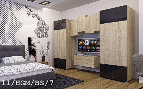 FUTURE 11 Moderne Wohnwand Anbauwand Wand Schrank Zimmer TV-Schrank Möbel Neu Exklusiv Hochglanz Matt Weiß Schwarz Sonoma LED RGB Beleuchtung (11/HGM/BS/7, RGB)