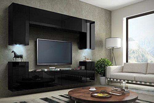 FUTURE 1 Moderne Wohnwand, TV-Schrank, Schrankwand, TV-Element Anbauwand, Neue Garnitur, Große Farbauswahl (RGB LED-Beleuchtung Verfügbar) (Schwarz MAT base / Schwarz HG front, RGB Led)