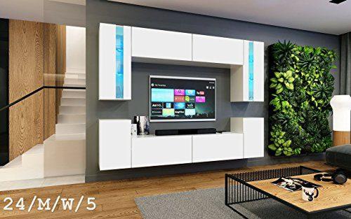 FUTURE 24 Wohnwand Anbauwand Wand Schrank Möbel Wohnzimmer Wohnzimmerschrank Möbelset Matt Weiß Schwarz Sonoma LED RGB Beleuchtung (24/M/W/5, LED rot)