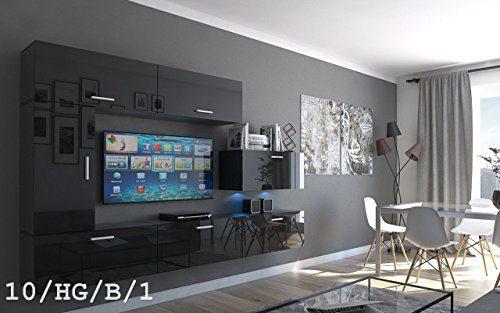 FUTURE 10 Wohnwand Anbauwand Wand Schrank Möbel Wohnzimmer Wohnzimmerschrank Hochglanz Weiß Schwarz LED RGB Beleuchtung (10/HG/B/1, RGB)