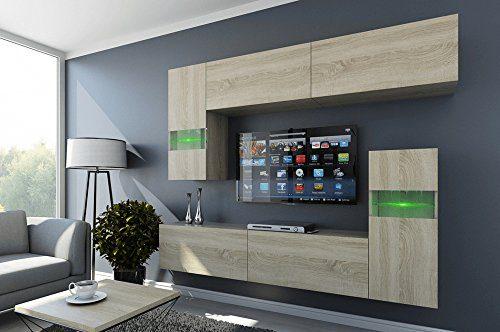 FUTURE 31 Wohnwand Anbauwand Wohnzimmer TV-Schrank Möbel Wohnzimmerschrank LED RGB Beleuchtung Matt Weiß Schwarz (31/M/W/5, LED weiß)