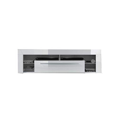 trendteam Wohnzimmer Lowboard Fernsehschrank Fernsehtisch Score Wohnen, 153 x 44 x 44 cm in Weiß Hochglanz ohne Beleuchtung