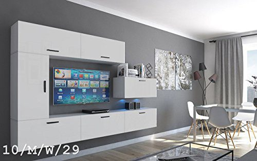 Wohnwand FUTURE 10 Moderne Wohnwand, Exklusive Mediamöbel, TV-Schrank, Neue Garnitur, Große Farbauswahl (10_M_W_29, LED Blau)