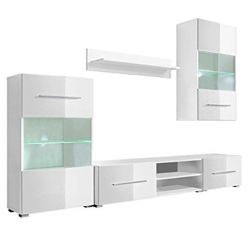 vidaXL 5-tlg. Hochglanz Wohnwand Mediawand TV-Schrank mit LED-Beleuchtung Weiß