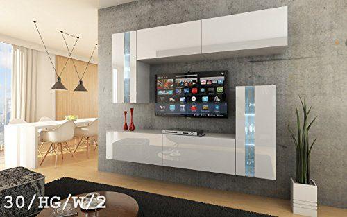 FUTURE 30 Wohnwand Anbauwand Wand Schrank Möbel Wohnzimmerschrank Wohnzimmer TV-Schrank Hochglanz Weiß Schwarz LED RGB Beleuchtung (30/HG/W/2, LED blau)