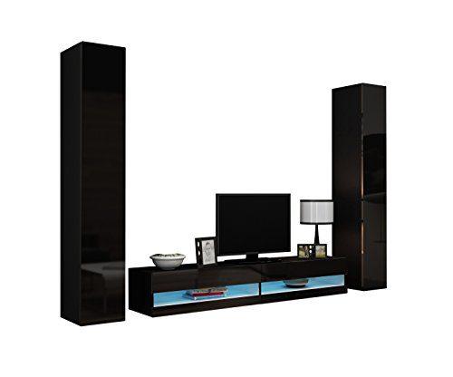 Wohnwand Vigo New IV Anbauwand, Design Mediawand, Modernes Wohnzimmer set, Hängeschrank TV Lowboard (ohne Beleuchtung, Schwarz / Schwarz Hochglanz)