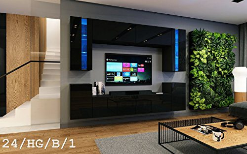 Wohnwand FUTURE 24 Moderne Wohnwand, Exklusive Mediamöbel, TV-Schrank, Neue Garnitur, Große Farbauswahl (RGB LED-Beleuchtung Verfügbar) (LED Blau, Schwarz Hochglanz)