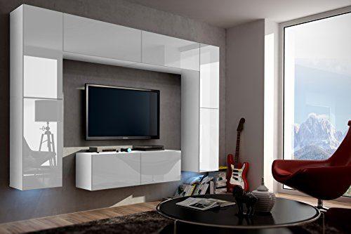 FUTURE 3 Zeitnah Wohnwand Wohnzimmer Möbelset Anbauwand Schrankwand Möbel Set Gratisverand Hochglanz Weiß Schwarz LED RGB Beleuchtung (Front: Hochglanz Weiß / Korpus: Matt Weiß, Möbel)
