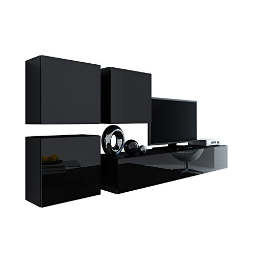 Wohnwand Vigo XXIII, Design Mediawand, Modernes Wohnzimmer set, Anbauwand, Hängeschrank TV Lowboard, (Schwarz / Schwarz Hochglanz)