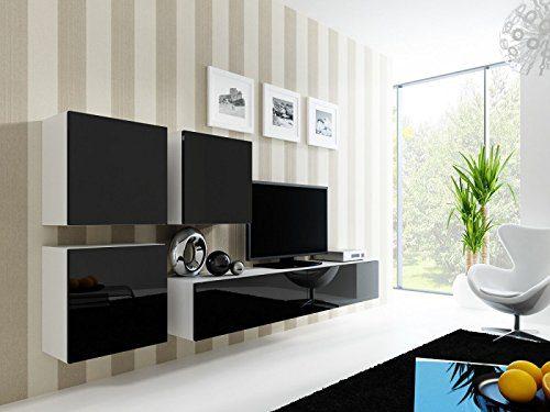 Wohnwand ' Vigo 23' Hochglanz Hängeschrank Lowboard Cube , Farbe:Weiß . Schwarz