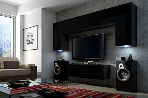 FUTURE 2 Zeitnah Wohnwand Wohnzimmer Möbelset, Anbauwand Schrankwand Möbel Set, Exklusive Unterhaltungseinheit Mit Regalen, Neue Suite, TV-Ständer / Schrank / Regal, Drücken Sie auf Öffnen / Standardgriff Wandschränke, Matte / Hochglanz, Schwarz / Weiß / Mehr Farben, Gratisversand (RGB LED Beleuchtung Vorhanden) (Schwarz MAT base / Schwarz HG front, Möbel) (Schwarz MAT base / Schwarz MAT front, Möbel)