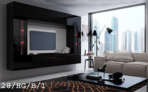 FUTURE 28 Wohnwand Anbauwand Wand Schrank TV-Schrank Wohnzimmer Wohnzimmerschrank Möbel Hochglanz Weiß Schwarz LED RGB Beleuchtung (28/HG/B/1, LED rot)