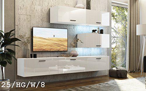 FUTURE 25 Wohnwand Anbauwand TV-Schrank Möbel Wohnzimmer Wohnzimmerschrank Hochglanz Weiß Schwarz LED RGB Beleuchtung (25/HG/W/8, Möbel)