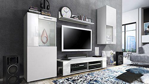 Wohnwand Anbauwand Movie, Korpus in Weiß matt / Fronten in Weiß matt und Weiß Hochglanz