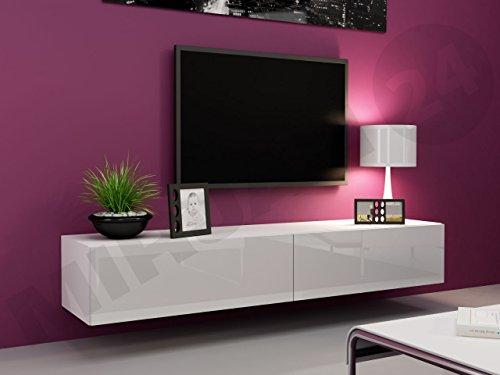 TV Schrank Vigo, Fernsehschrank, TV Lowboard mit Grifflose Öffnen, Hängeschrank Hochglanz Matt Wohnwand (Länge: 180 cm, Weiß / Weiß Hochglanz)