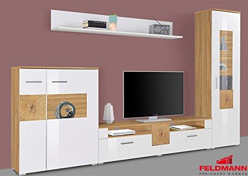 Wohnwand 388803 Anbauwand votaneiche / weiß hochglanz 4-teilig