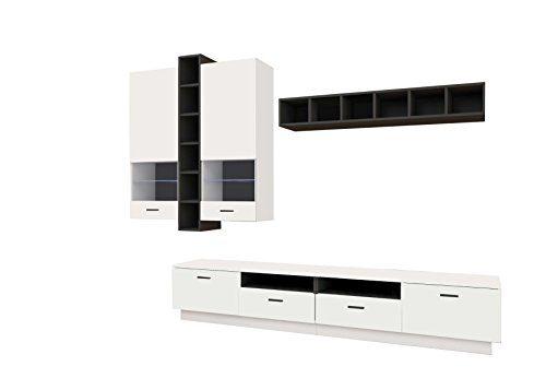 AVANTI TRENDSTORE - Alba - Wohnwand aus Holzdekor, weiß Hochglanz / schwarz, besteht aus 1 Wandschrank, 1 Wandregal und 1 TV-Möbel. Maße BHT 265x200x41 cm