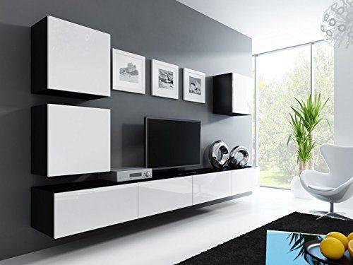 Wohnwand ' Vigo 22' Hochglanz Hängeschrank Lowboard Cube , Farbe:schwarz matt / weiß Hochglanz