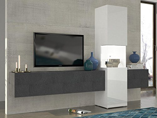 Wohnwand | Mediawand | Wohnzimmer-Schrank | Fernseh-Schrank | TV Lowboard | weiß Hochglanz/Schieferoptik | modern | hängend | Glas-Vitrine | Tecnos | Incontro