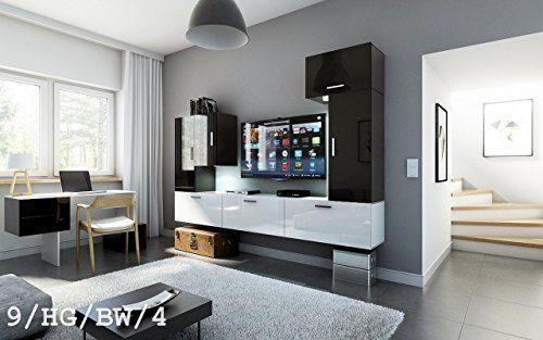 FUTURE 9 Wohnwand Anbauwand Wand Schrank Wohnzimmer Wohnzimmerschrank Hochglanz Weiß Schwarz LED RGB Beleuchtung (9/HG/BW/4, LED blau)