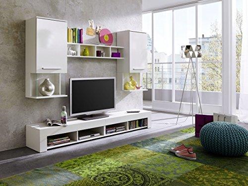 Wohnwand Anbauwand Wohnzimmer TV Schrank Schrankwand Wohnwand Hochglanz weiß