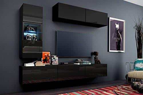 Wohnwand 12 Anbauwand Moderne Wohnwand Hochglanz Weiß Schwarz Exklusive Mediamöbel, TV-Schrank, Beleuchtung LED RGB (Hochglanz Schwarz, LED)