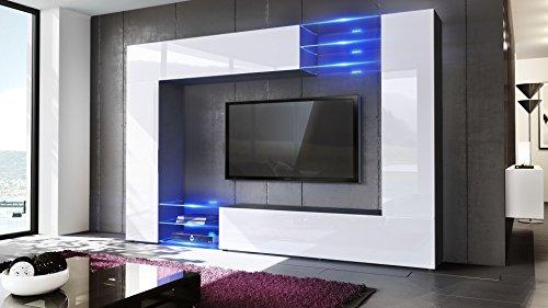 Wohnwand Anbauwand Mirage, Korpus in Schwarz matt / Fronten in Weiß Hochglanz inkl. LED Beleuchtung