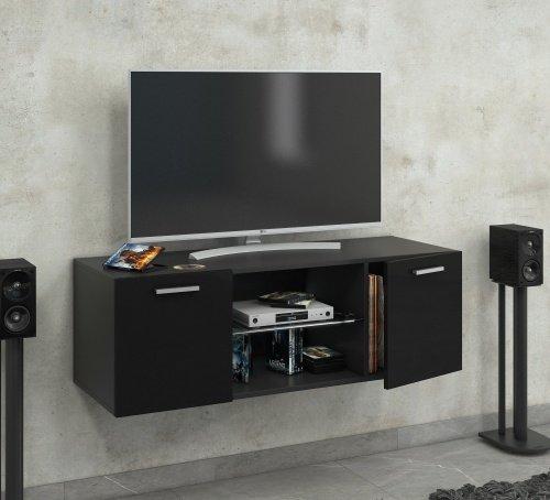 """VCM TV Schrank Lowboard Tisch Board Fernseh Sideboard Wandschrank Wohnwand Holz Schwarz 40x115x36 cm """"Jusa Hochglanz"""""""