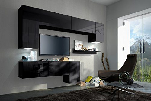 FUTURE 5 Moderne Wohnwand, Exklusive Mediamöbel, TV-Schrank, Neue Garnitur, Große Farbauswahl (RGB LED-Beleuchtung Verfügbar) (Schwarz MAT base / Schwarz HG front, RGB)