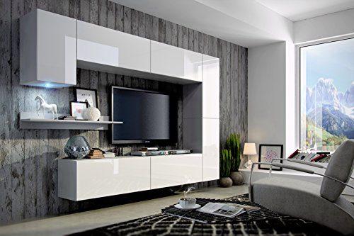 FUTURE 6 Moderne Wohnwand, Exklusive Mediamöbel, TV-Schrank, Neue Garnitur, Große Farbauswahl (RGB LED-Beleuchtung Verfügbar) (Weiß MAT base / Weiß HG front, Weiß LED)
