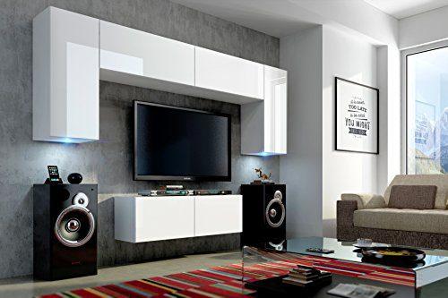 FUTURE 2 Zeitnah Wohnwand Wohnzimmer Möbelset, Anbauwand Schrankwand Möbel Set, Exklusive Unterhaltungseinheit Mit Regalen, Neue Suite, TV-Ständer / Schrank / Regal, Drücken Sie auf Öffnen / Standardgriff Wandschränke, Matte / Hochglanz, Schwarz / Weiß / Mehr Farben, Gratisversand (RGB LED Beleuchtung Vorhanden) (Schwarz MAT base / Schwarz HG front, Möbel) (Weiß MAT base / Weiß HG, Weiß LED)